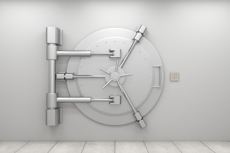 Tür eines silberfarbenes Banktresors