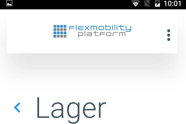 flexmobility APP mit der Lager Maske auf einem Android-Handy