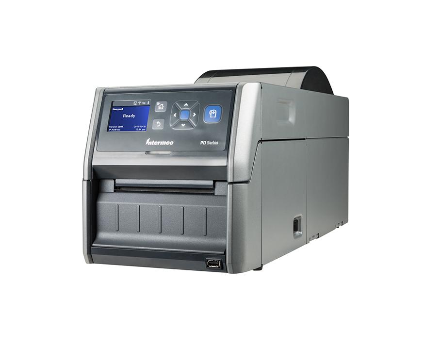 Laserlabeldrucker Honeywell PD43 auf weißem Hintergrund