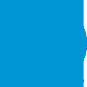HP Logo mit weißer Schrift auf blauem Hintergrund