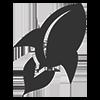 Symbol einer Rakete in Grau