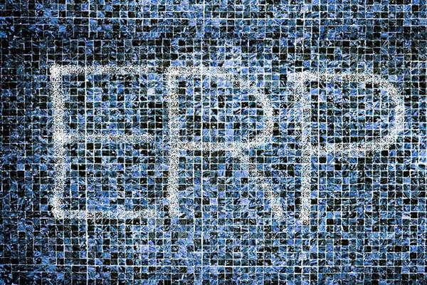 ERP Schriftzug im blauen Mosaik